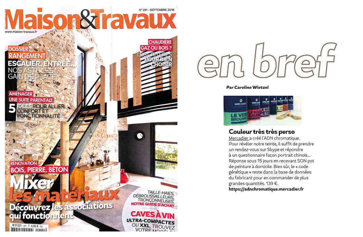 Maison & Travaux Magazine maison & travaux - 09/2018 - adn chromatique - mercadier